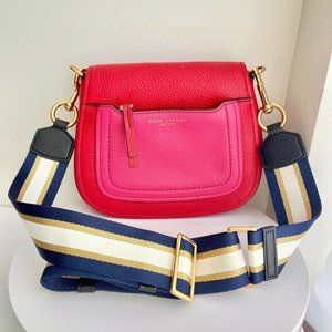 Marc Jacobs Leather Crossbody Bag Empire City Red Pink Navy Gold Stripe Strap